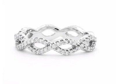 0.39 Ct G-H SI Round Cut Eternal Twist Diamond Wedding Ring 18k Solid White Gold