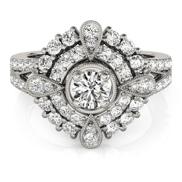 0.75 Tcw CZ Compass milligrain split Double Halo Engagement Ring 18K White Gold