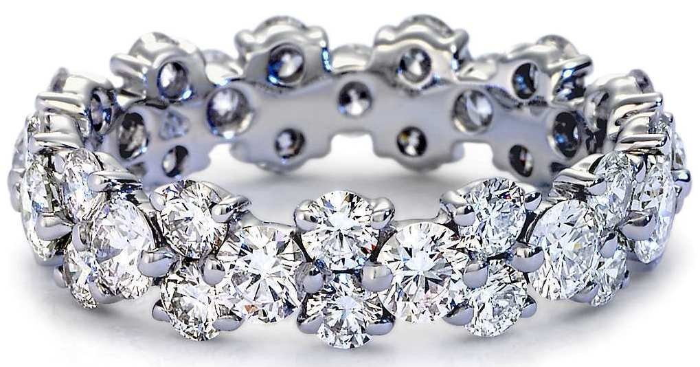 2.50 Tcw Claw Set CZ Garland Eternity Ring Wedding Band in 18K Solid White Gold