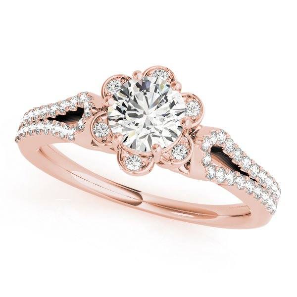 1.00 Tcw Petite Floral CZ Halo Engagement Ring with Split Band In 14K Rose Gold