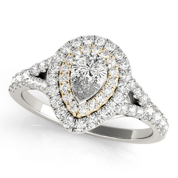 1.10 Tcw Two Tone Pear Shaped Double Halo CZ Engagement ring 14k White & YG