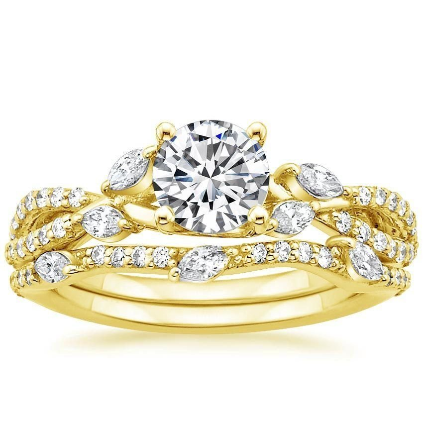 1.70 Tcw Round Solitaire CZ Luxe Willow Wedding Ring Sets 18K solid Yellow gold