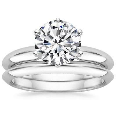2.00 Tcw Round solitaire CZ Six Prong Knife Edge wedding ring set 18K White Gold