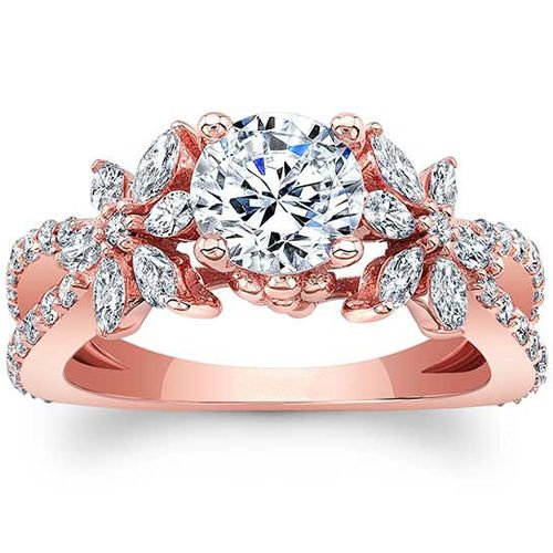 1.90 Tcw Split Shank Round and Marquise Floral Engagement Ring In 14K Rose Gold