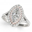 0.75 Tcw Two Tone Marquise Double Halo Cz Engagement Ring 14k White & Rose Gold