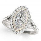0.75 Tcw Two Tone Marquise Double Halo Cz Engagement Ring 18k White And Y Gold