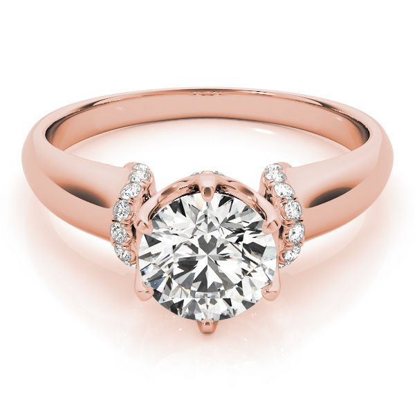 1.00 Tcw Contour Crown with CZ Shoulder Round Cut Engagement Ring 18k Rose gold