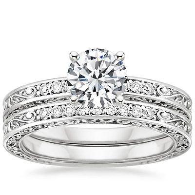 0.90 Tcw Solitaire CZ Vintage Engraved Antique Bridal Ring Sets 18k white gold