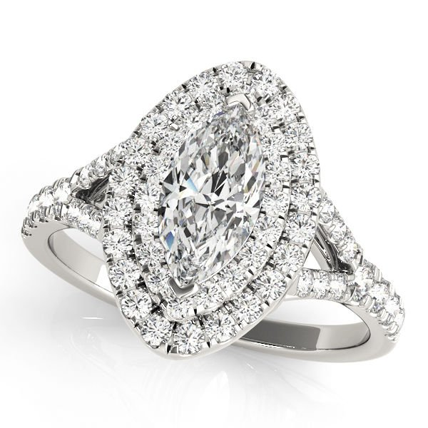 0.75 Tcw Split Shank Marquise Double Halo Cz Engagement Ring 18k White Gold