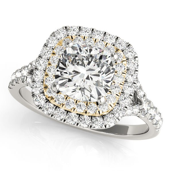 1.20 TCW Two Tone Cushion Double CZ Halo Engagement Ring 14 K White Yellow Gold