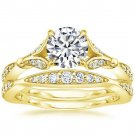 1.40 Tcw Nature Inspired CZ Round Solitaire Wedding Ring Sets In 14k Yellow Gold