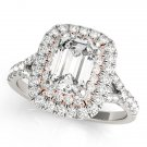 1.10 Tcw Two Tone Emerald Cut Double Halo CZ Engagement ring 18k White Rose gold