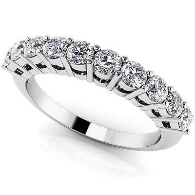 0.70 Ct G-H SI Knife Edge Half Eternity Band Diamond Wedding Ring 18K White Gold