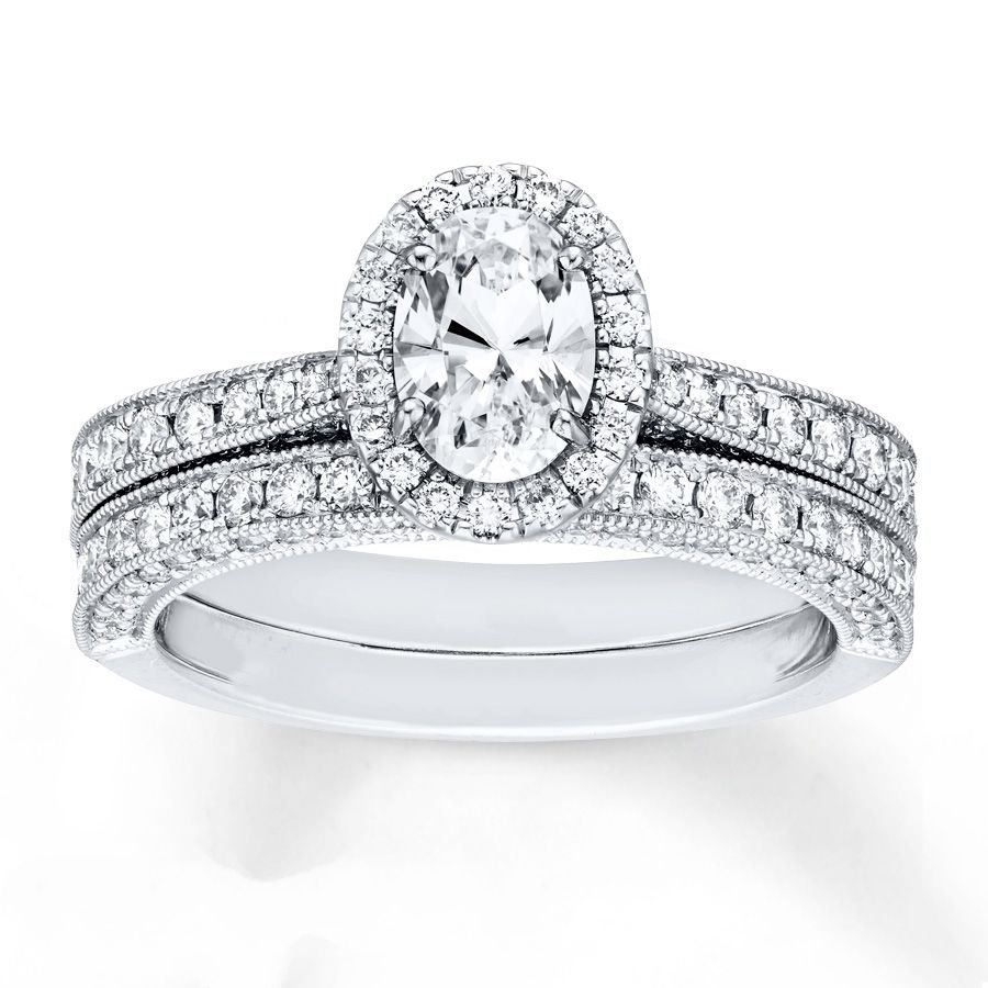 1.70 Tcw Oval Cut CZ Vintage Milgrain Engagement And Wedding Ring Set 14K W Gold