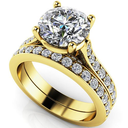 2.75 Ct Big Round Bridal Engagement Wedding Jewelry Ring Sets 18k Yellow Gold