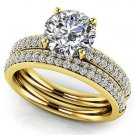1.95 Tcw Round Cut Solitaire Four Row CZ Wedding Ring Sets 14K Solid Yellow Gold