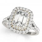1.10 Tcw Two Tone Emerald Cut Double Halo CZ Engagement ring 14k White And YG
