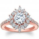 1.75 Tcw Round & Marquise Nature Inspired Floral Engagement Ring 14K Rose Gold