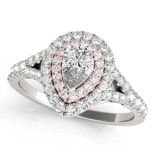 1.10 Tcw Two Tone Pear Shaped Double Halo CZ Engagement ring 14k White Rose gold