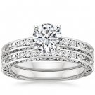 0.90 Tcw Solitaire CZ Vintage Engraved Antique Bridal Ring Sets 14k white gold