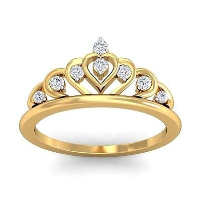 0.12 Ct F-G SI Round Cut Diamond Promise Ring Wedding Band In 14k Yellow Gold