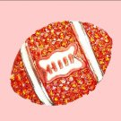 Orange Rhinestone Football