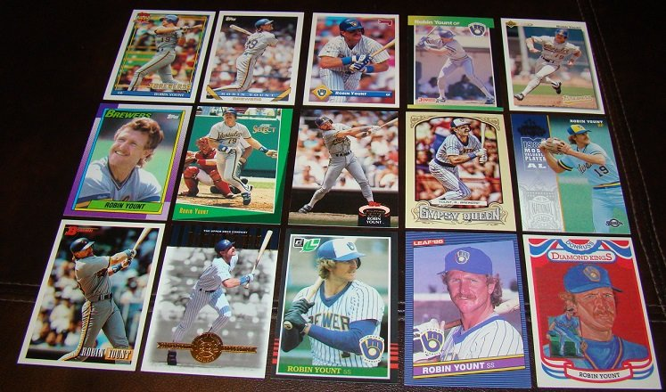 Robin Yount 25 Different Baseball Cards Lot Milwaukee Brewers
