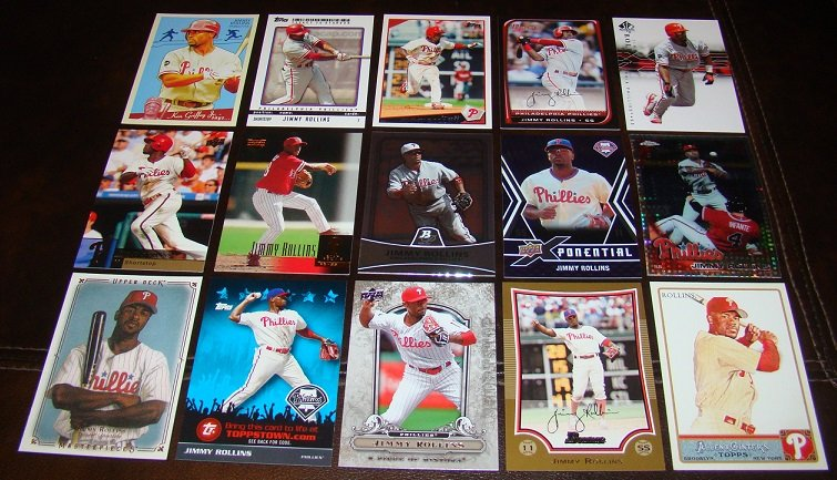 Jimmy Rollins 25 Different Baseball Cards Lot Philadelphia Phillies