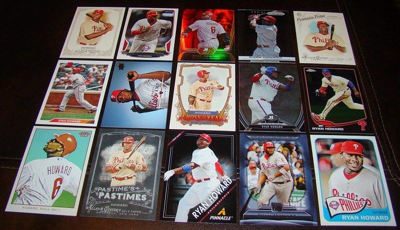 Ryan Howard 25 Different Baseball Cards Lot Philadelphia Phillies