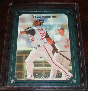 Ken Griffey Jr. 2007 UD Masterpieces Framed Green Parallel Baseball Card