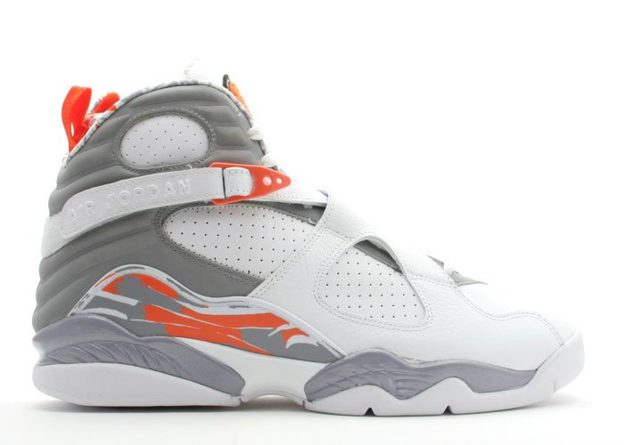 Air Jordan 8  -  white/stealth-orange blaze-silver