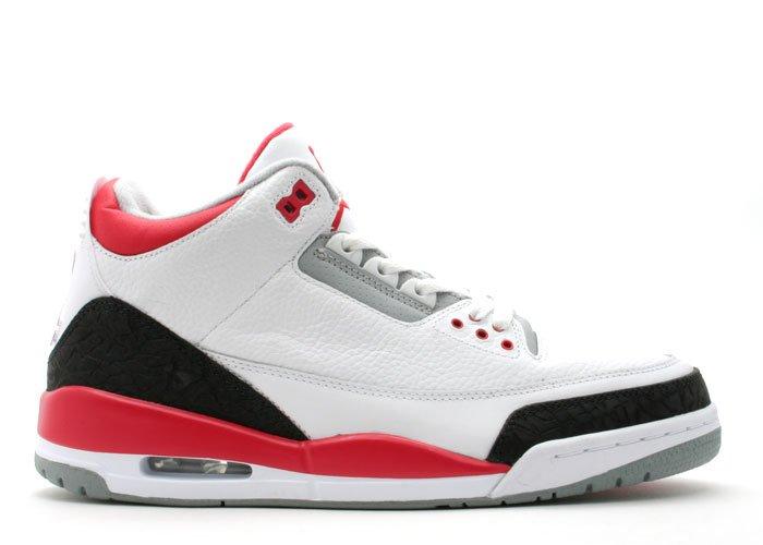 Air Jordan 3  -  white/fire red-cement grey