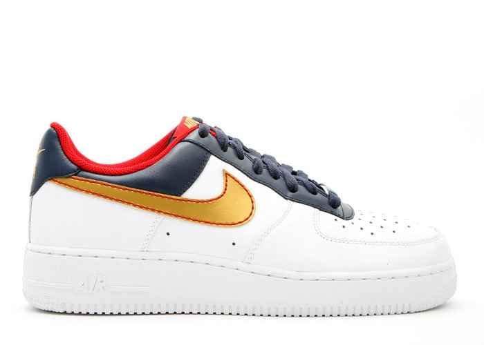 Air Force One Low - white/metallic gold-midnight navy