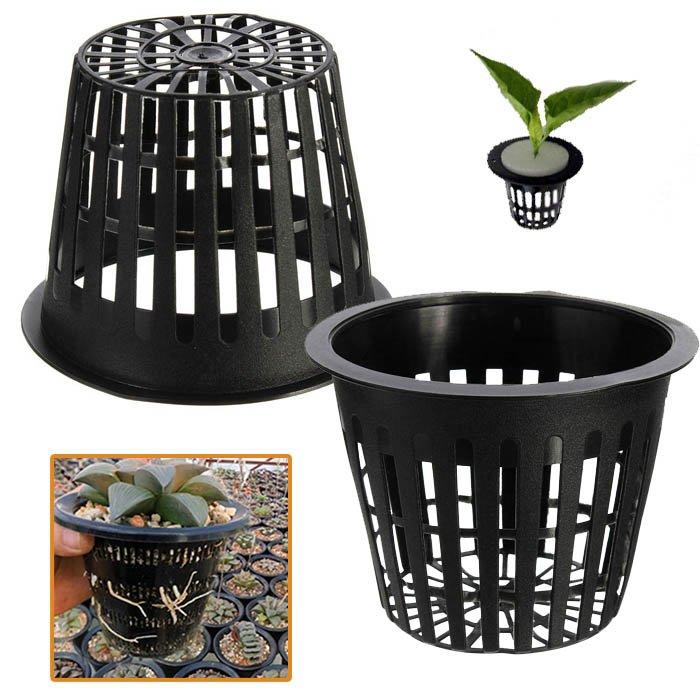 10pcs Black Plastic Hydroponic Planting Mesh Net Pot Baskets Garden Plant Grow Cup