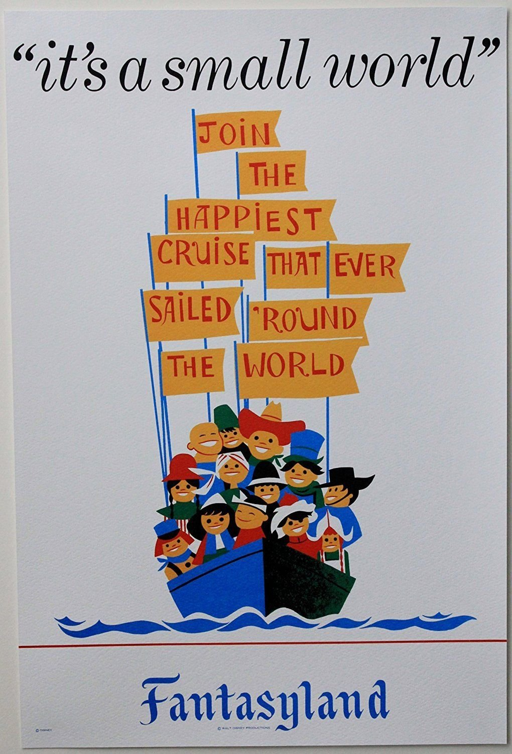 """DISNEYLAND RESORT """"IT'S A SMALL WORLD"""" CLASSIC ATTRACTION POSTER PRINT"""
