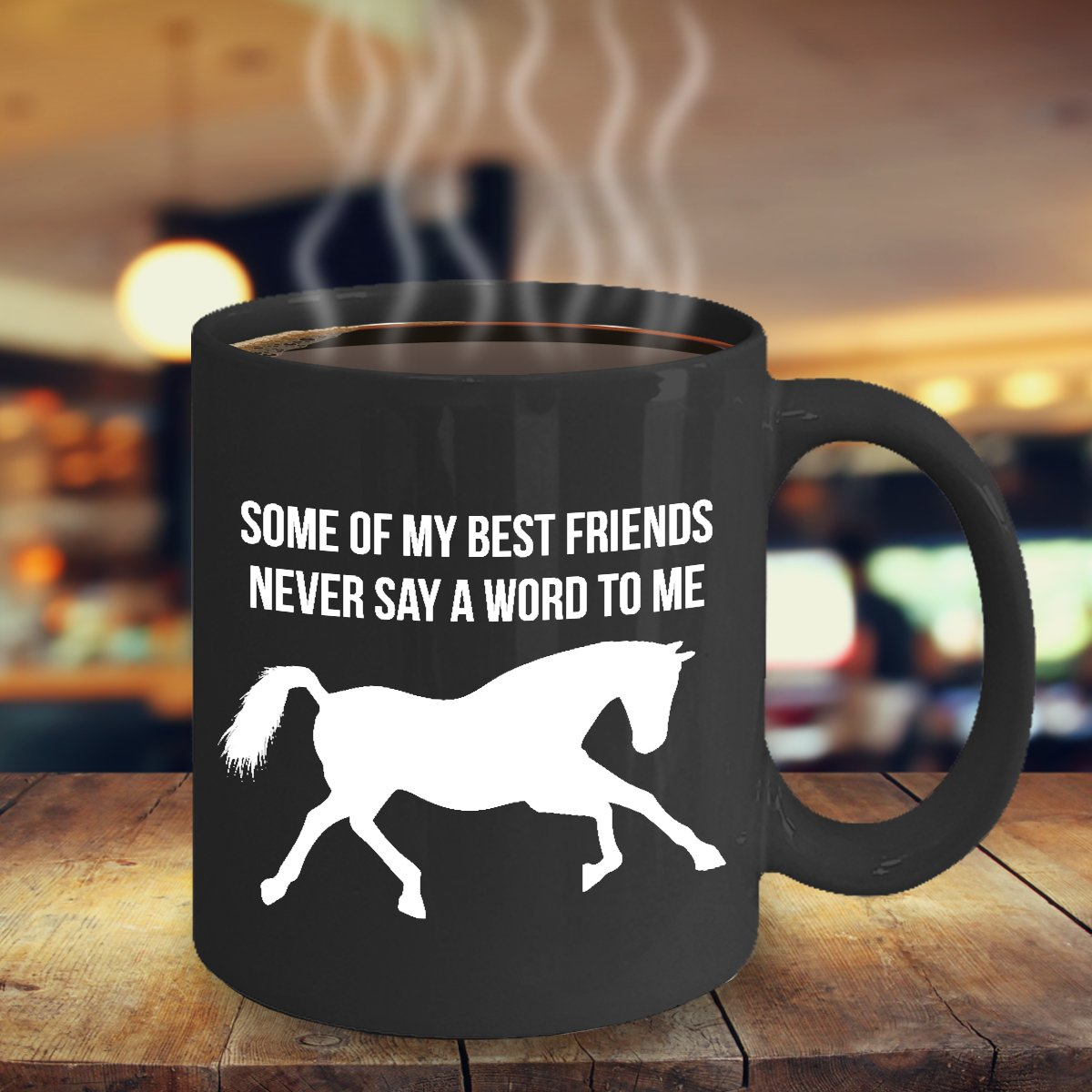 TeesCloset Dishwasher and Microwave Safe Ceramic Mugs for Horse Lovers (11oz, Black)