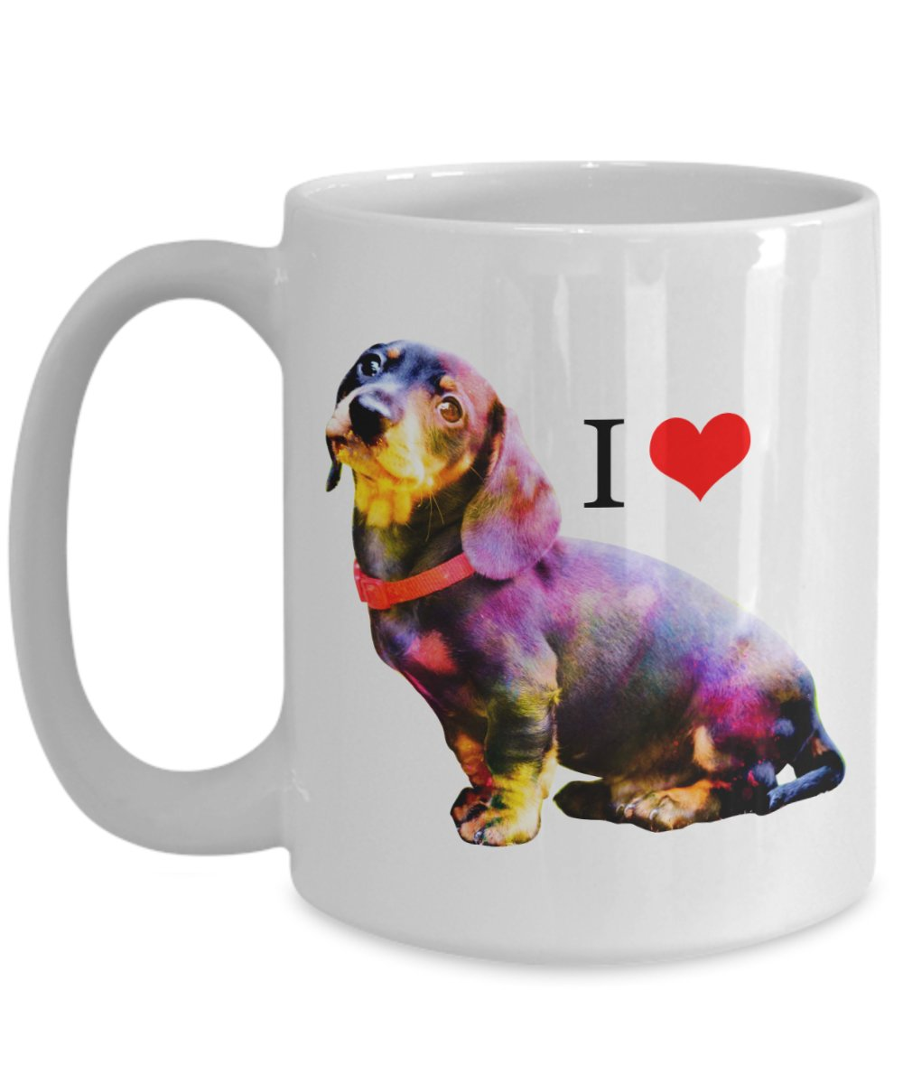 TeesCloset Colorful Funny Gift for Dachshund Lovers - Colorful Cute Coffee Mugs for Dachshund Owners