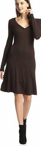 Cashmere Addiction Women's Long Sleeve V-Neck Dress, Chocolate, M