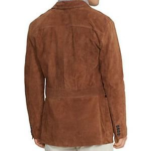Barr Mens Fashion 3 Button Brown Suede Coat- Size Small thru 4X
