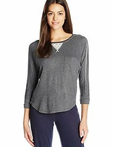 Karen Neuburger Women's Elbow Sleeve Casual Sweatshirt with Lace Inset Heather M