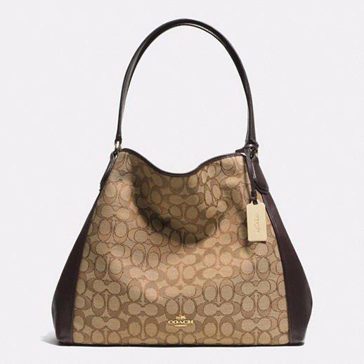 AUTHENTIC COACH WOMENS SIGNATURE EDIE SHOULDER BAG Light/Khaki/Brown 100%
