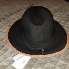 Collection XIIX WOMEN BLACK BROWN WOOL SLUBBY PIPED PANAMA HAT ONE SIZE