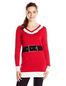 Isabella's Closet Women's Santa Suit Ugly Christmas Sweater Tunic, Red/White Med
