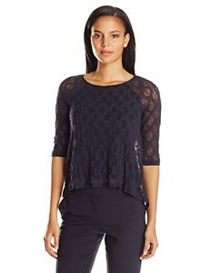 Only Hearts Women's Stretch Lace Raglan Boat Neck Lined, Navy, Small