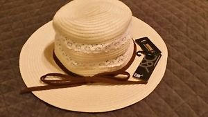 D&Y Women's Paper Braided Hat with Crochet Detail, Natural, One Size