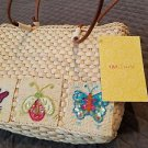 QVC Quacker Factory CRUISE Woven Straw Purse Tote Dragonfly Butterflies Ladybug