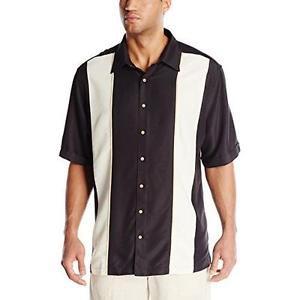 Cubavera Men's Big-Tall Short Sleeve Twill Piped Panel Shirt with Insert, 3XL