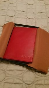 Banuce Women's Italian Vegetable Tanned Leahter Passport Cover Color, Red