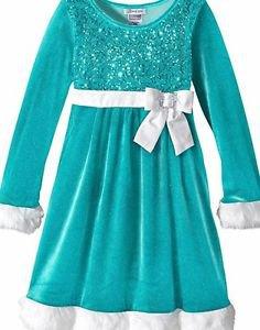 Bonnie Jean Little Girls' Sequin Bodice Santa Dress, Aqua, Size 5