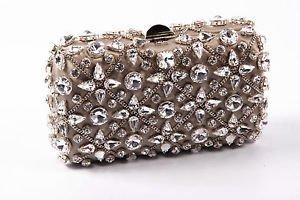 Rodo ladies handbag B7860 601 018 - Clutch One Size Bronze Fabric with Swarovski